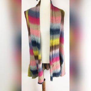 Habitat Striped Rainbow Wool Vest Cardigan D3675